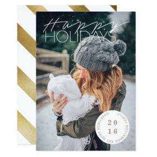 "Sleek Happy Holidays | Photo 5"" X 7"" Invitation Card"