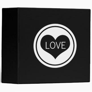 Sleek Heart Love Binder (2 inch), Black and White