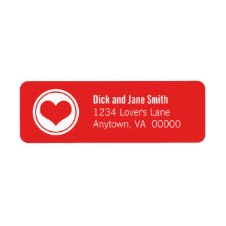 Sleek Heart Return Address Labels, Red Return Address Label