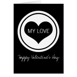 Sleek Heart Valentine's Day Card, Black and White