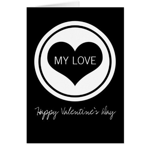 Sleek Heart Valentine's Day Card, Black and White