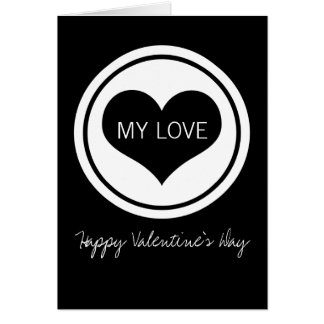 Sleek Heart Valentine's Day Card, Black and White Greeting Card