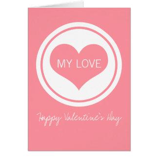 Sleek Heart Valentine's Day Card, Pink