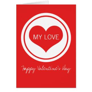 Sleek Heart Valentine's Day Card, Red