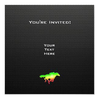 "Sleek Horse Racing 5.25"" Square Invitation Card"