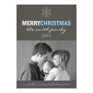 Sleek Merry Christmas Card (Snowflake Blue / Gray)