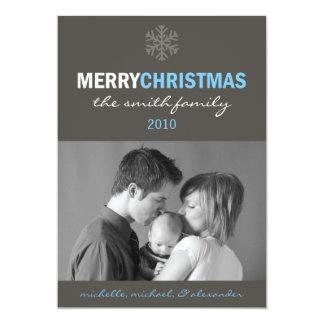 Sleek Merry Christmas Card (Snowflake Blue / Gray)