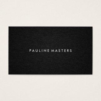 Sleek Modern Minimal Black Linen, Black White Bar Business Card