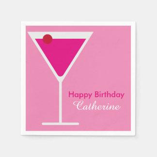 Sleek Modern Pink Martini Custom Birthday Paper Napkins