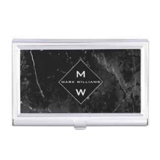 Sleek Modern Professional Black Marble Monogram Business Card Holder