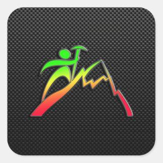 Sleek Mountain Climbing Square Sticker