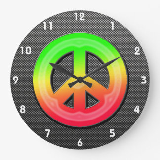 Sleek Peace Sign Large Clock