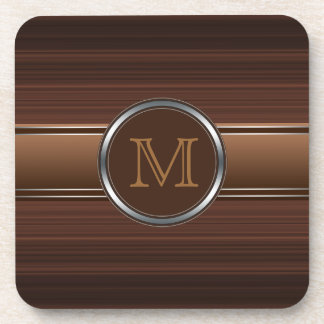 Sleek Professional Brown Stripes Monogram Coaster