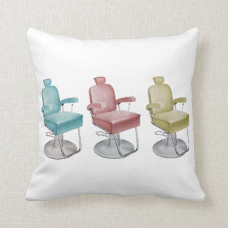 Sleek Retro Vintage Salon Chair Throw Pillow