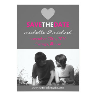 Sleek Save The Date Announcement (Hot Pink)