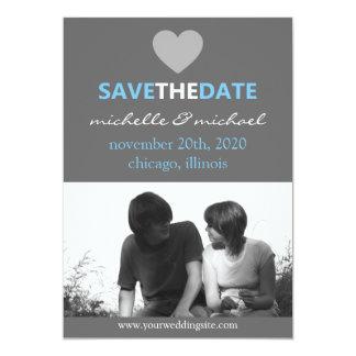 Sleek Save The Date Announcement (Light Blue)