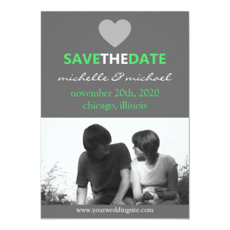 Sleek Save The Date Announcement (Lime Green)