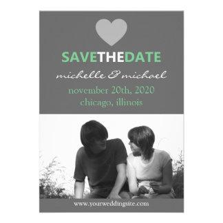 Sleek Save The Date Announcement (Mint Green)