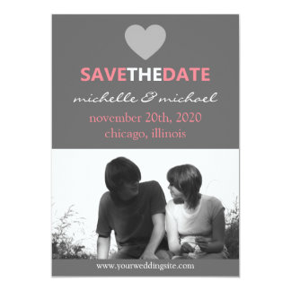 Sleek Save The Date Announcement (Pink)
