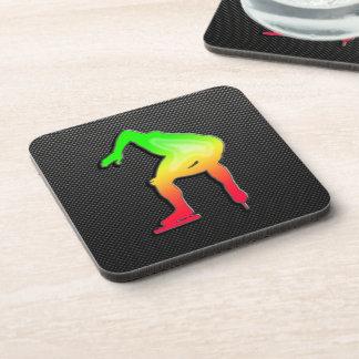Sleek Speed Skater Beverage Coasters