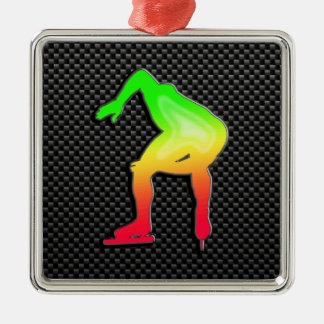 Sleek Speed Skater Silver-Colored Square Ornament