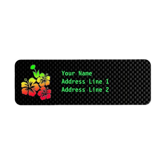 Sleek Tropical Flowers Return Address Label