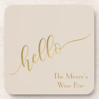 "Sleek Typography Gold ""Hello"" Wine Bar Coaster"