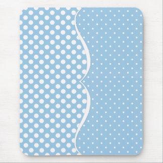 Sleek White Polka Dots on Pastel Blue Mouse Pad