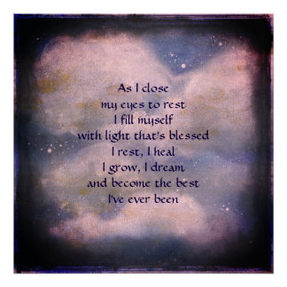 Sleep blessing poem art poster. poster