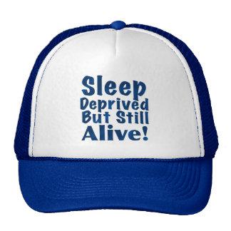 Sleep Deprived But Still Alive in Dark Blue Trucker Hat