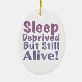 Sleep Deprived But Still Alive in Sleepy Purples Ceramic Ornament