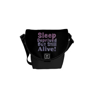 Sleep Deprived But Still Alive in Sleepy Purples Courier Bags