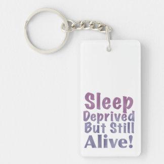 Sleep Deprived But Still Alive in Sleepy Purples Keychain