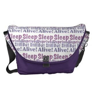 Sleep Deprived But Still Alive in Sleepy Purples Messenger Bags