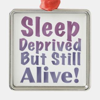 Sleep Deprived But Still Alive in Sleepy Purples Metal Ornament