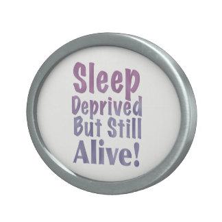 Sleep Deprived But Still Alive in Sleepy Purples Oval Belt Buckle
