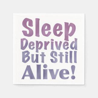 Sleep Deprived But Still Alive in Sleepy Purples Paper Napkin