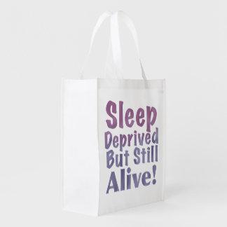 Sleep Deprived But Still Alive in Sleepy Purples Reusable Grocery Bag