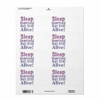 Sleep Deprived But Still Alive in Sleepy Purples Shipping Label