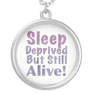 Sleep Deprived But Still Alive in Sleepy Purples Silver Plated Necklace