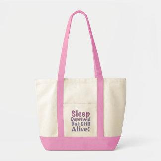 Sleep Deprived But Still Alive in Sleepy Purples Tote Bag