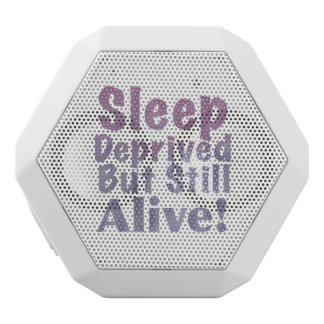 Sleep Deprived But Still Alive in Sleepy Purples White Bluetooth Speaker