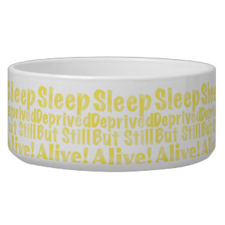 Sleep Deprived But Still Alive in Yellow Pet Food Bowl