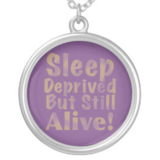 Sleep Deprived But Still Alive in Yellow Silver Plated Necklace