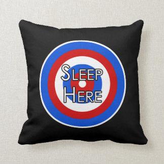 """Sleep Here"" Target Funny Pillow"