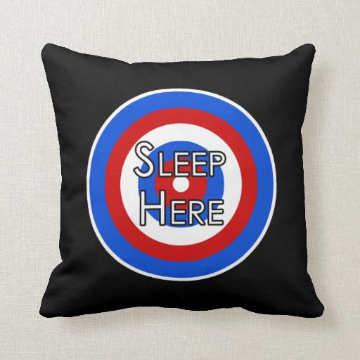 """Sleep Here"" Target Funny Pillow"