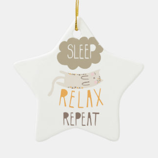 Sleep, Relax, Repeat Calico Cat Ceramic Ornament