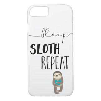 Sleep Sloth Repeat Teal Heart iPhone Phone Case