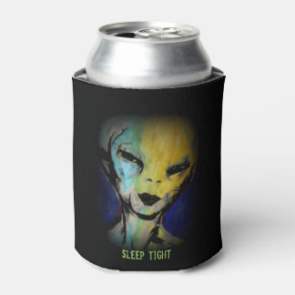 'Sleep Tight, Alien' painting on a Can Cooler