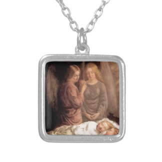 Sleep - Two guardian angels and children Silver Plated Necklace